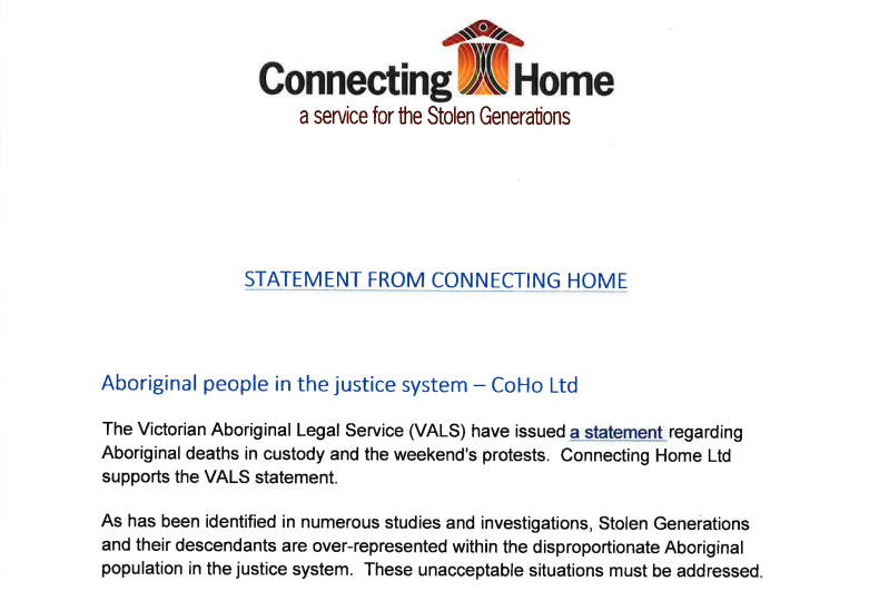 Statement – Aboriginal people in the justice system
